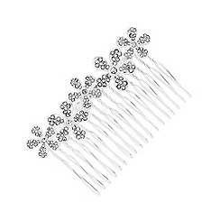 Red Herring - Silver plated clear flower comb hair