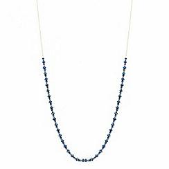 37484_RHNW042611: Fine blue bead long tassel necklace