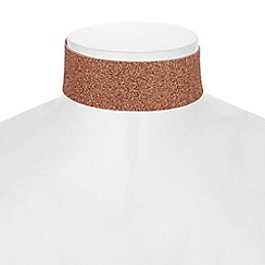 Red Herring - Rose gold glitter choker necklace