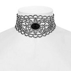 Red Herring - Diamante filigree choker necklace