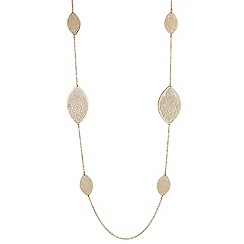 Red Herring - Glitter filigree leaf long necklace