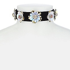 Red Herring - Sequin floral choker necklace