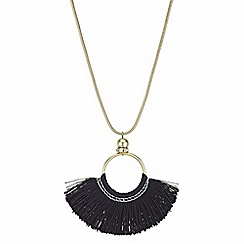 Red Herring - Fringed disc long necklace