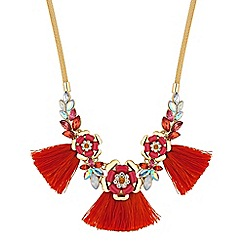 Red Herring - Floral cluster tassel necklace
