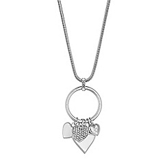 Red Herring - Crystal heart charm pendant necklace
