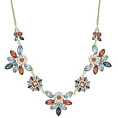 Red Herring - Coral crystal burst necklace