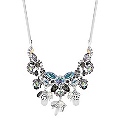 Red Herring - Multi colour crystal floral statement necklace