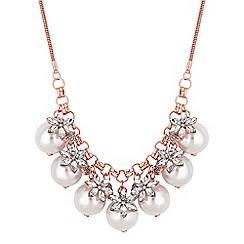 Red Herring - Rose gold crystal flower and pearl statement necklace
