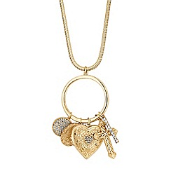 Red Herring - Gold crystal charm long necklace