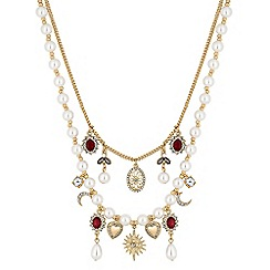 Red Herring - Gold crystal baroque multi row necklace