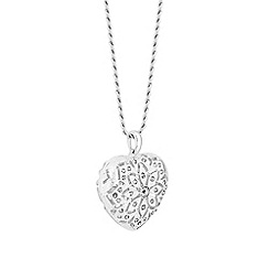 Red Herring - Silver Plated Crystal Heart Filagree Long Pendant Necklace