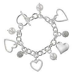 Red Herring - Crystal pave heart charm bracelet