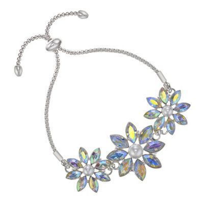 Red Herring   Graduated Floral Crystal Toggle Bracelet by Red Herring