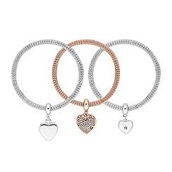 Red Herring - Pave heart charm bracelet set