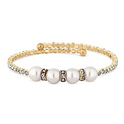 Red Herring - Gold pearl and crystal coil bracelet