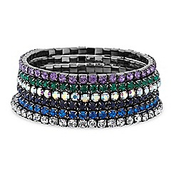Red Herring - Multi colour diamante crystal stretch bracelet set