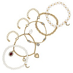 Red Herring - Gold crystal baroque multi row charm bracelet