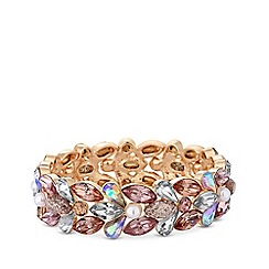 Red Herring - Rose gold plated pink multi petal glitter stretch bracelet