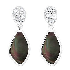 Simply Silver - Sterling silver signature mother of pearl angular drop earring