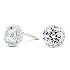 Simply Silver - Sterling silver cubic zirconia pave surround stud earring