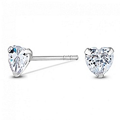 Simply Silver - Sterling silver heart cubic zirconia stud earring