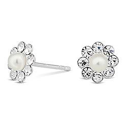 Simply Silver - Sterling silver pearl flower stud earring