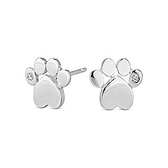 Simply Silver - Sterling silver paw print stud earring