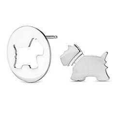 Simply Silver - Sterling silver scottie dog earrings set