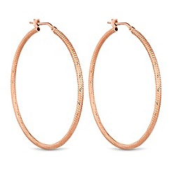 Simply Silver - Rose gold coloured sterling silver textured hoop earrings
