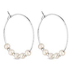 Simply Silver - Sterling silver pearl hoop earrings