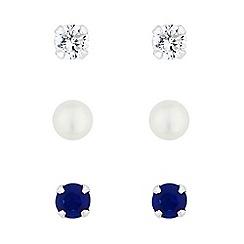 Simply Silver - Sterling silver blue stud earrings set