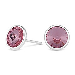 Simply Silver - Sterling silver pink stud earrings created with Swarovski crystals