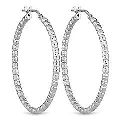 Simply Silver - Sterling silver bead hoop earrings