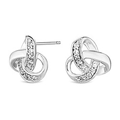 Simply Silver - Sterling silver pave knot stud earrings