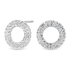 Simply Silver - Sterling silver pave circle stud earrings