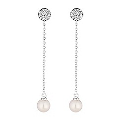 Simply Silver - Sterling silver pearl chain drop earrings