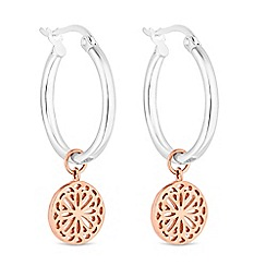 Simply Silver - Sterling silver filigree disc hoop earrings