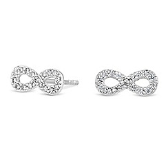 Simply Silver - Sterling silver pave infinity stud earrings