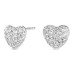 Simply Silver - Sterling silver pave heart stud earrings