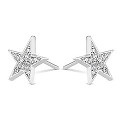 Simply Silver - Sterling silver pave star earrings