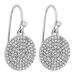 Simply Silver - Sterling silver pave disc earrings