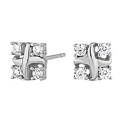 Simply Silver - Sterling silver pave cross stud earrings