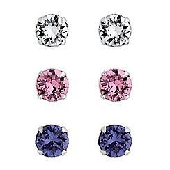 Simply Silver - Sterling silver mini stud earrings set created with Swarovski crystals