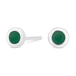 Simply Silver - Sterling silver may emerald birthstone earrings