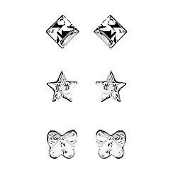 Simply Silver - Sterling silver stud earring set embellished with Swarovski crystals