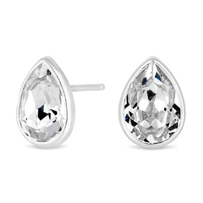 076d4f1d2 Simply Silver - Sterling silver peardrop stud earrings embellished with  Swarovski crystals