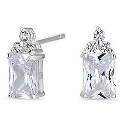 Simply Silver - Sterling silver emerald cut stud earring