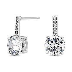 Simply Silver - Sterling silver cubic zirconia solitaire drop earrings