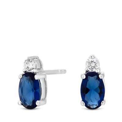 367c54daf Simply Silver - Sterling silver 925 blue cubic zirconia oval stud earrings