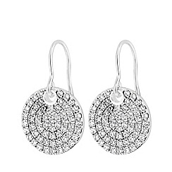 Simply Silver - Sterling silver 925 white cubic zirconia disc drop earrings